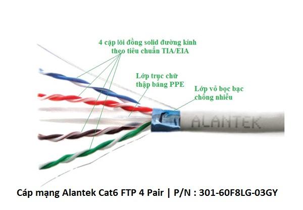 Cáp mạng Alantek Cat6 FTP, P/N : 301-60F8LG-03GY